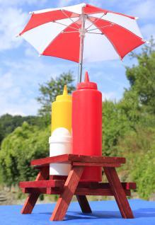 XL Gewürzständer SET Höhe 41cm mit Sonnenschirm + HOLZ-Picknicktisch