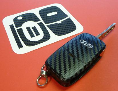 CARBON Schlüssel-Dekor für AUDI mit Klappschlüssel - Vorschau 1