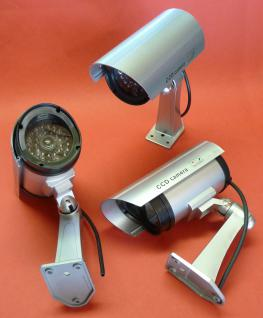 """3-STÜCK LED VIDEO BLINKENDE Überwachungskamera ATTRAPPE """"TÄUSCHEND ECHT"""""""