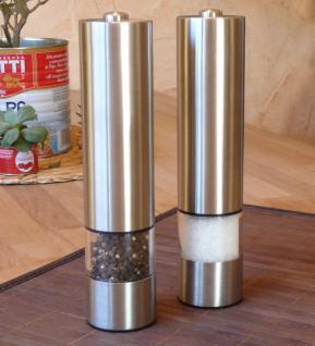 2-STÜCK ELEKTRISCHE Pfeffer-Salz-GEWÜRZMÜHLE aus EDELSTAHL mit KERAMIK-MAHLWERK
