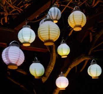 """10-STÜCK LED Party Lampion ø 15cm in 5-PASTELL-FARBEN """"Wunderschön"""""""