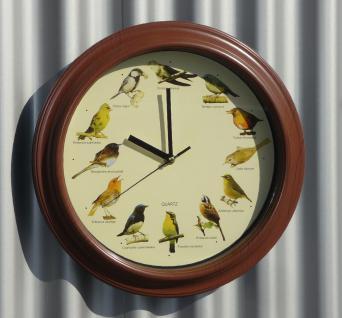 Vogeluhr MAXI ø33cm mit DEUTSCHEN heimischen Vögeln und ORGINAL Stimmen TOP QUALITÄT