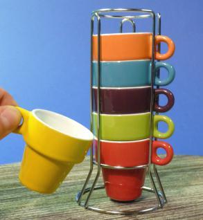 """6-STÜCK Espresso-Tassen mit STÄNDER """"TOP Design BUNT"""""""
