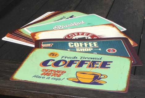 """12-stÜck Tischset Kaffee Retro 44x29cm Abwaschbar """"zum Sonderpreis"""" - Vorschau 1"""