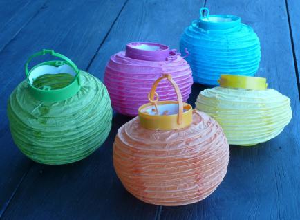 """10-stÜck Led Party Lampion ø 15cm In 5-regenbogen-farben """"wunderschön"""" - Vorschau 3"""