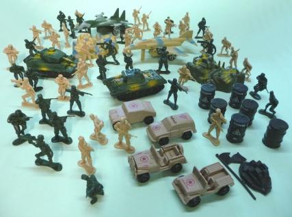 MAXI MILITÄR ARMEE SET Spielzeug Soldaten Panzer Flugzeuge Fässer Flaggen
