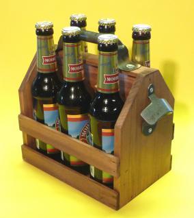 FLASCHENTRÄGER BIERKISTE aus HOLZ mit Flaschenöffner für 6 Bierflaschen