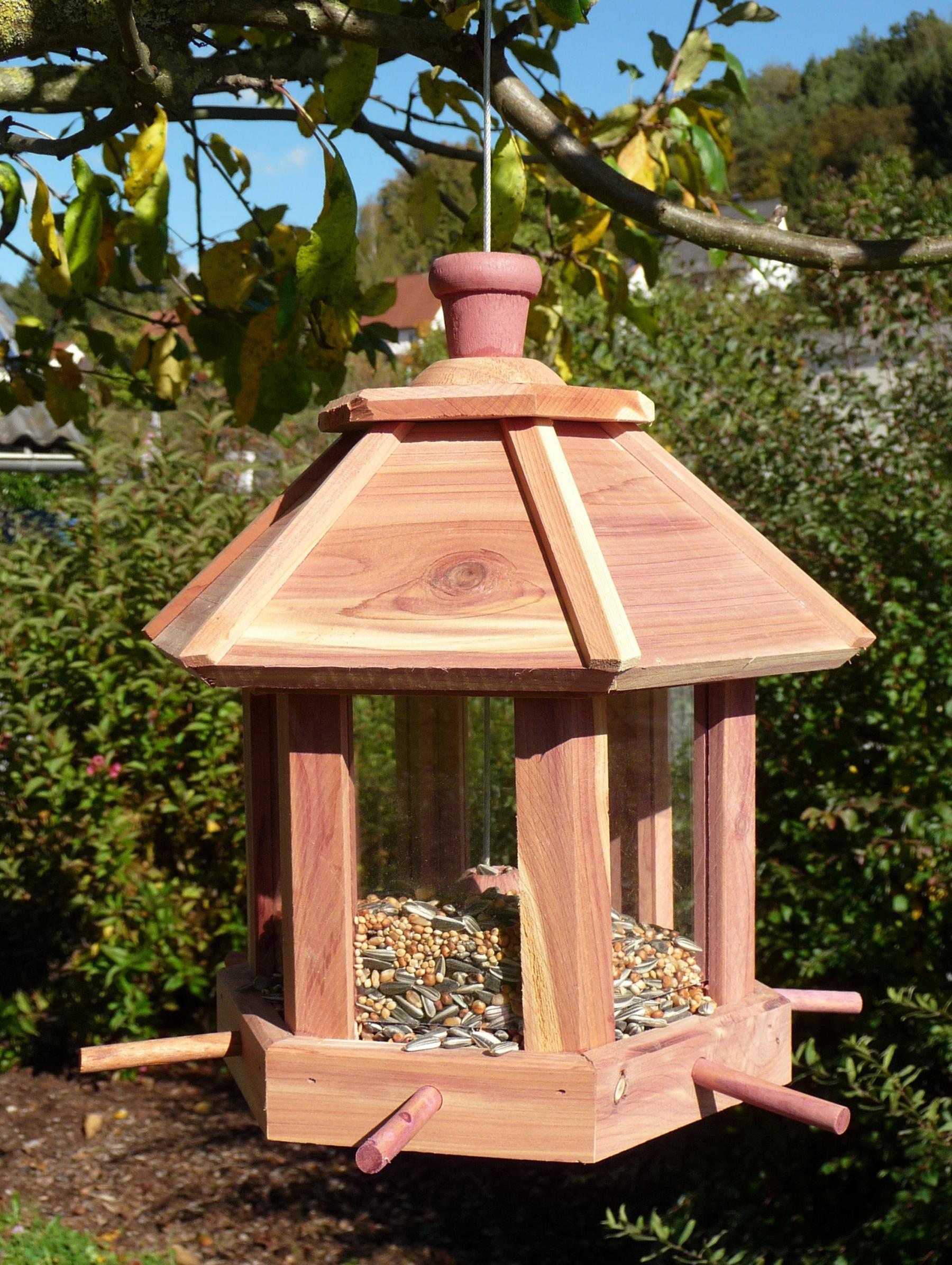 Holz Vogelhaus Vogelfutterhaus 26x27cm Mit Futtersilo