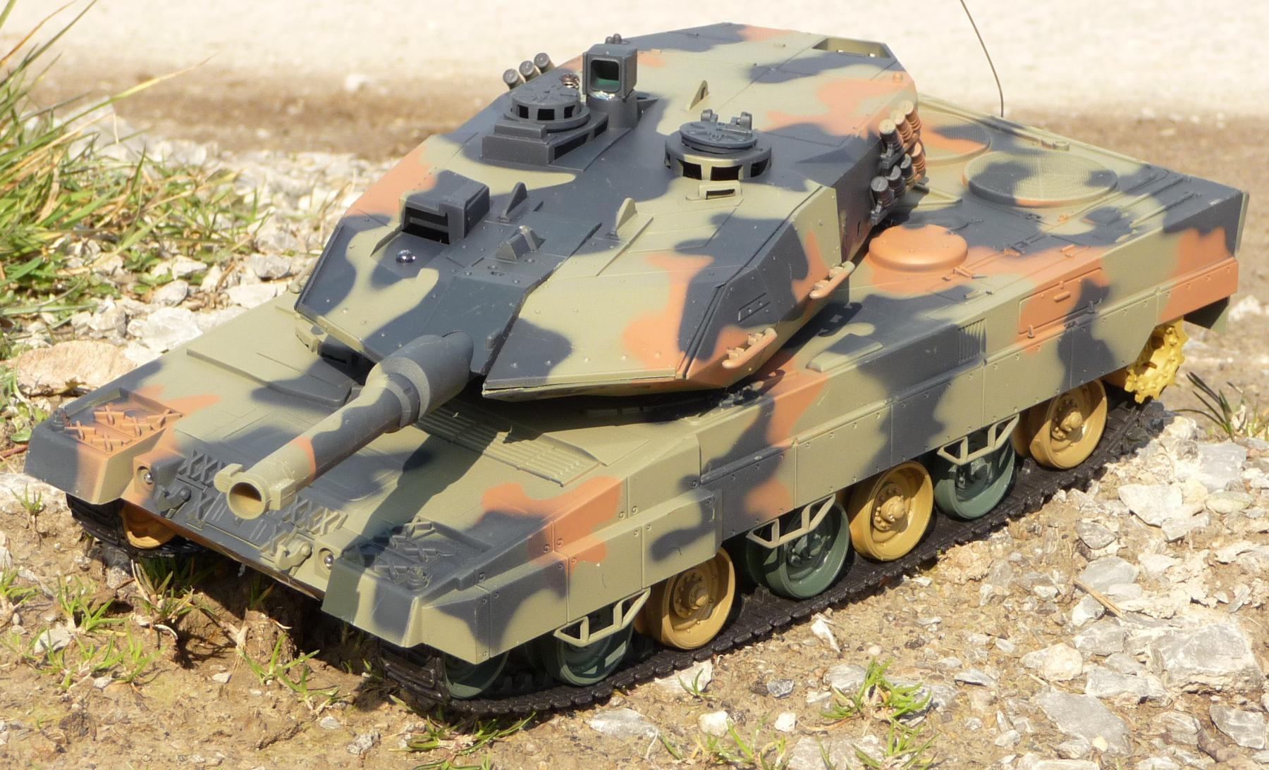rc panzer leopard 2 a5 l nge 41cm mit schuss in top. Black Bedroom Furniture Sets. Home Design Ideas