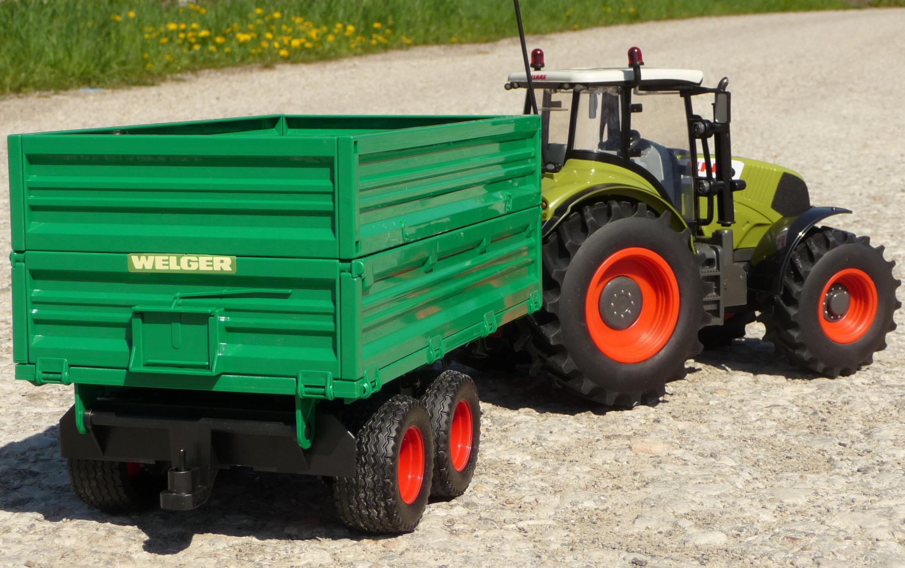 rc traktor claas axion 870  anhänger in xl länge 72cm