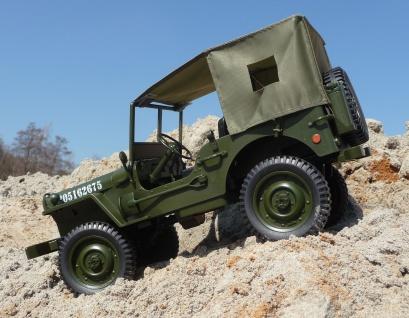 """RC MAXI Jeep WILLYS mit DACH + LICHT & AKKU Länge 34cm """"Ferngesteuert 2, 4GHz"""""""