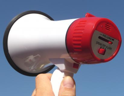 "FAN MEGAPHONE MEGAFON mit Alarm-Sirene 30Watt bis zu 500 Meter ""TOP"""