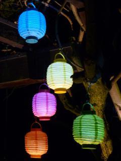 "5-STÜCK LED Party Lampion ø 15cm in 5-REGENBOGEN-FARBEN ""Wunderschön"""