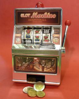 SLOTMACHINE Geld-Spielautomat in MINI-Größe mit realistischer FUNKTION