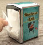 """100-Stück Servietten in Metall SPENDER-BOX """"Design BARBECUE-BAR"""""""