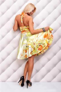 Sommerliches Neckholder Kleid Mit Blumenmuster In GrÜn/orange - Vorschau 4