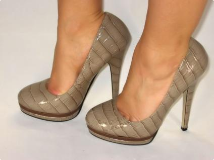 EXCLUSIVE PLATEAU HIGH-HEELS MIT LACK IN KHAKI