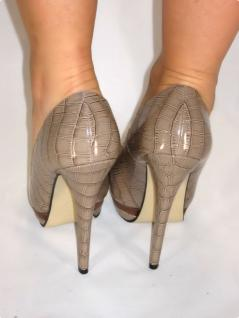 Exclusive Plateau High-heels Mit Lack In Khaki - Vorschau 3