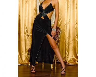 Atemberaubendes Geschlitztes Kleid Mit Strass Verzierung Schwarz - Vorschau 1
