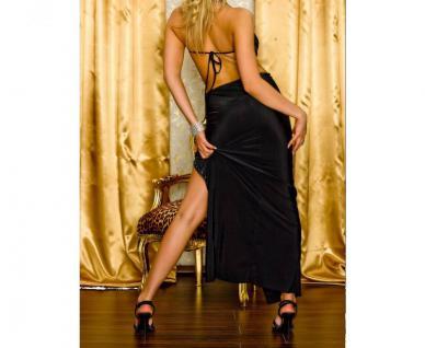 Atemberaubendes Geschlitztes Kleid Mit Strass Verzierung Schwarz - Vorschau 4