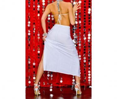 Atemberaubendes Geschlitztes Kleid Mit Strass Verziehrung Weiss - Vorschau 3