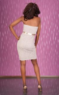 Exklusives Bandeau Minikleid Push Up Kleid Beige - Vorschau 5