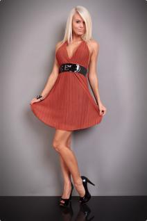Atemberaubendes Neckholder Kleid Mit TaillengÜrtel In Rost - Vorschau 2
