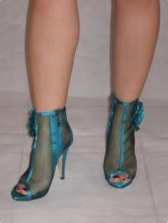 Sexy High-heels Im Netz Mit GlamourÖsen Blume Und Seitlichem Reißverschluss In GrÖn - Vorschau 1