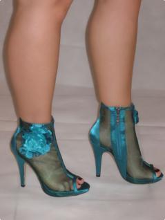 Sexy High-heels Im Netz Mit GlamourÖsen Blume Und Seitlichem Reißverschluss In GrÖn - Vorschau 2