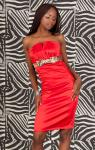Pencil Lady Bandeau Kleid Leo Masche Rot