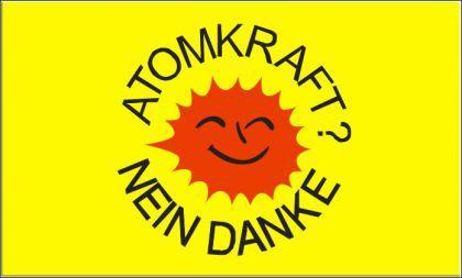 Flagge Fahne Atomkraft Nein Danke gelb 90 x 150 cm