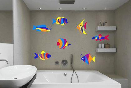 Wandtattoo Buntes Fische Set