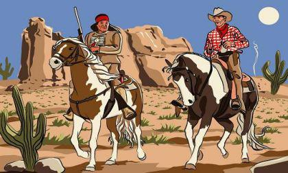 Flagge Fahne Cowboy & Indianer 90 x 150 cm - Vorschau
