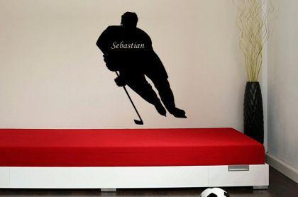 Wandtatto Eishockey Spieler mit Wunschnamen