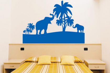 Wandtattoo Elefanten mit Palmen - Vorschau 1