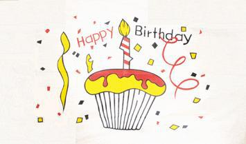 Flagge Fahne Happy Birthday Cake 90 x 150 cm