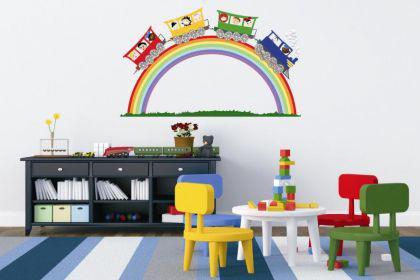 Wandtattoo Kinderzug auf Regenbogen