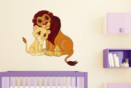 Wandtattoo Löwe mit Junges