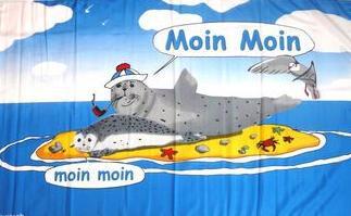 Flagge Fahne Moin Robbe auf Sandbank 90 x 150 cm - Vorschau
