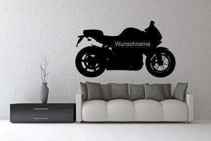 Wandtattoo Motorrad mit Wunschnamen