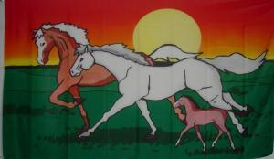 Flagge Fahne Pferdefamilie 90 x 150 cm - Vorschau