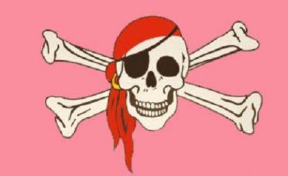 Flagge Fahne Pirat pink 90 x 150 cm - Vorschau