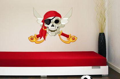 Wandtattoo Pirat mit rotem Kopftuch und Säbel