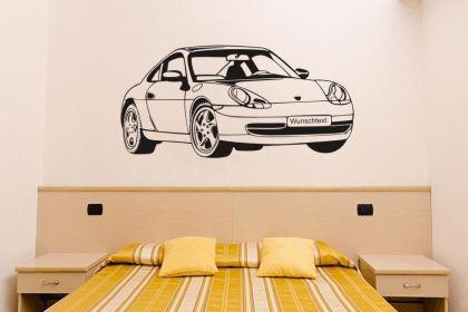 Wandtattoo Porsche mit Wunschnummernschild