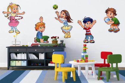 Wandtattoo Set spielende Kinder Color Motiv Nr. 1