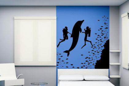 Wandtattoo Taucher und Delfin