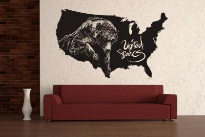 Wandtattoo USA Grizzly Map