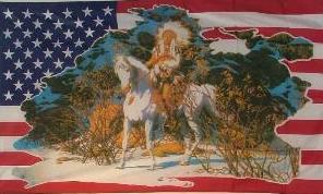 Flagge USA Indianer Pferd II 90 x 150 cm - Vorschau