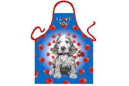 Schürze I love you mit Hund und Rose 56 x 73 cm