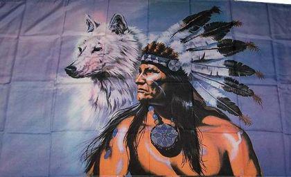 Flagge Fahne Indianer mit Wolf 90 x 150 cm - Vorschau